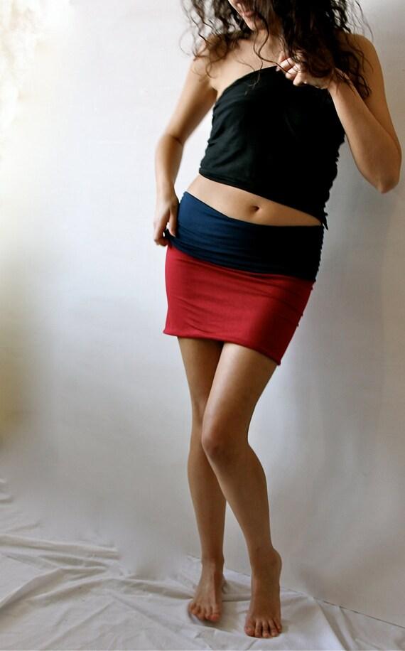 Double jersey pencil mini skirt - custom made - two tone skirt - tube top
