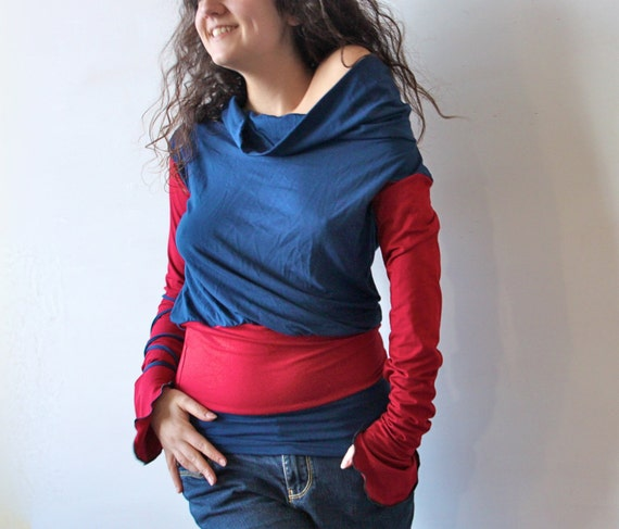 Long sleeved top, jersey blouse, draped shirt, color block top, cowl neck blouse, long sleeved tunic top, women top, blue and red top