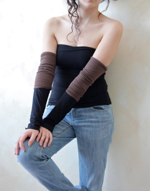 Double face jersey arm warmers - black and brown