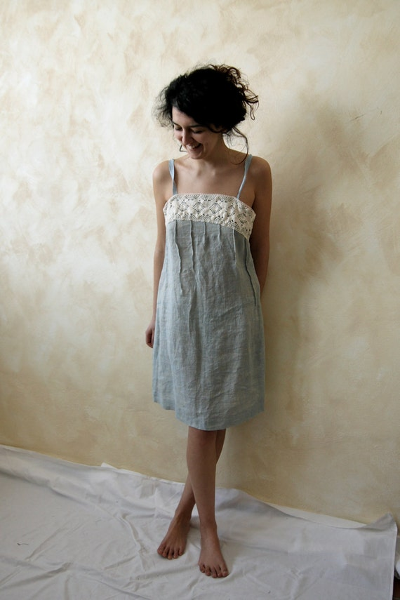 Lace and linen sundress -Tunic Dress White Shores