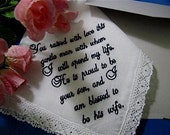 Customized Hankerchief for YOUR Wedding - Hankie Tailored for your wedding. with its lace and wedding ready gift envelop
