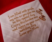 Mother to Son on Her OR His, Wedding Day, with gifting envelop, unique and thoughtful hankie, cotton hankerchief, mens handkerchief