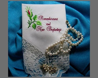 Wedding Handkerchief, Premium Memorial Hankie for Bride/Groom to Remember and Begin Anew .  . with gift envelop, lace hankerchief