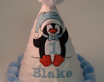 Children's Clothing, PINK or BLUE, Winter Birthday Party Hat, PENGUIN, Personalized
