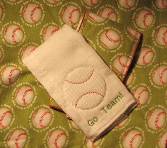 Blanket Set, Baseball Blanket and Burp Cloths, FREE PERSONALIZATION