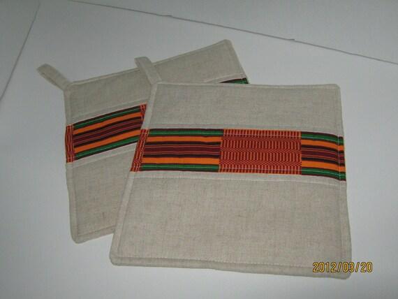 Set of 2 natural linen Hotpad/Potholder