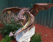 OOAK Karthos the Wyvern Copper and Brass Metal Sculpture