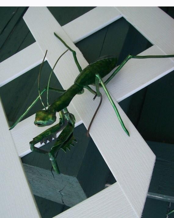 Small Praying Mantis Metal Copper Wall Sculpture