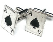 Ace of Spades, Silvertone Cufflinks