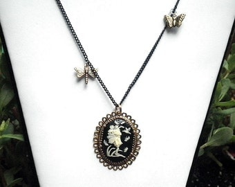 SALE, Night Fairy Cameo Necklace.Steampunk,Gothic Jewellry,Lolita Vamp,Dark Metal Noir,Edwardian Fantasy,Neo Victorian,OOAK