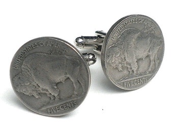 Sale, Authentic Buffalo Nickel Coin Cufflinks