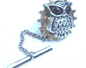 PS,Steampunk Tie Tack,Wise Owl, Mens Gift, Father's Day, Men's Formal Wear,OOAK