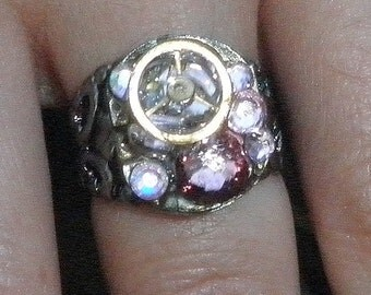 SALE, Stunning Steampunk Ring, Steam Punk Goth,Cosplay Ring, Watch Movement Ring,Pink Swarovski Crystal, OOAK