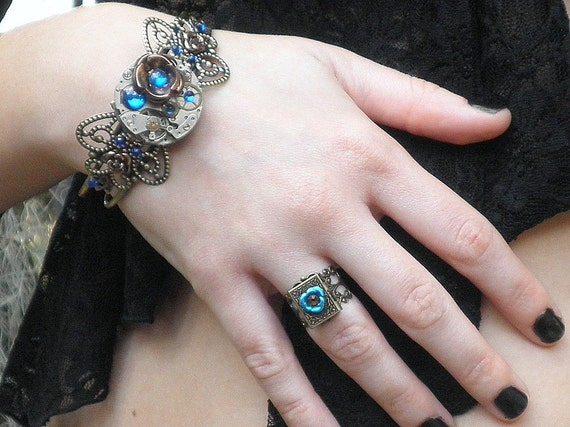 SALE, Blue Rose Locket Ring,Mothers Day,Steampunk ring,Neo Victorian,Gothic Jewellry,Steam Punk Goth,Edwardian Fantasy,Antique Jewelry,Rings