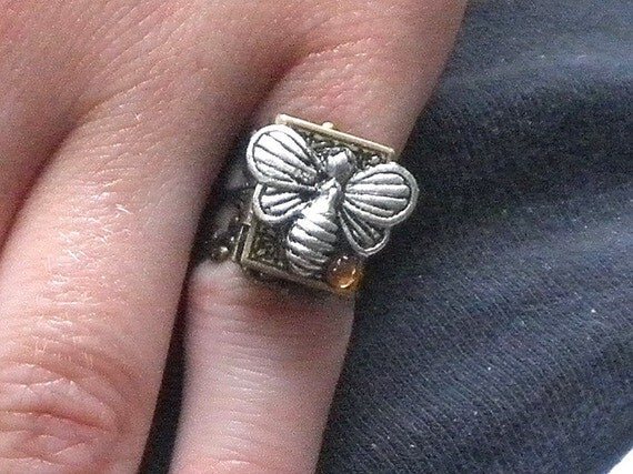 Honey Bee Locket Ring