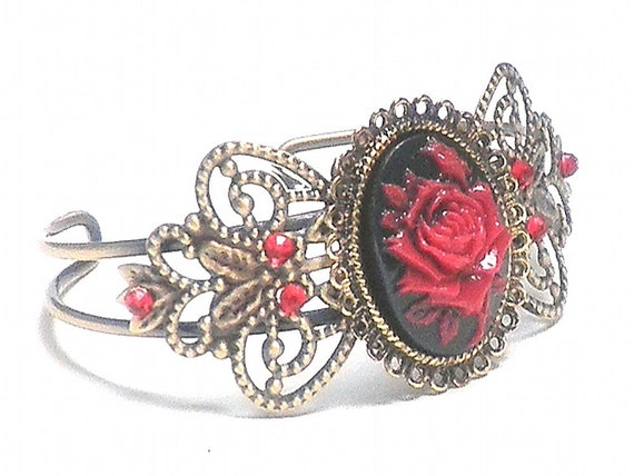 SALE Red Rose Cameo Cuff