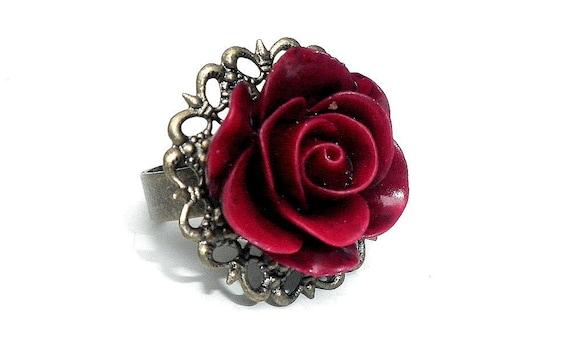 Burgundy Rose Filigree Ring