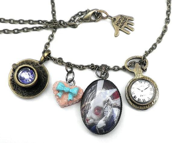 White Rabbit,  'Alice in Wonderland,' Charm Necklace