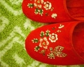 RERSERVED for JULES - Vintage Velvet Beaded Slippers - Vtg. Deadstock