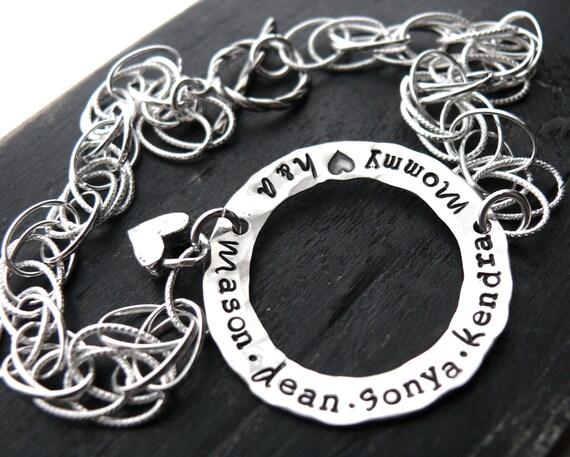 Mothers Bracelet - Personalized Bracelet - Name Bracelet- Hand Stamped Jewelry
