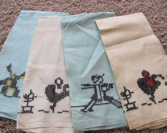 Set of 4 Lightweight Linen Hand Towels - Hand Stitched - 13 x 22