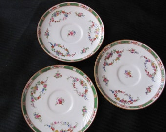 Vintage Set of 3 Small Teacup Saucer Plates  - Minton - England - Numbered