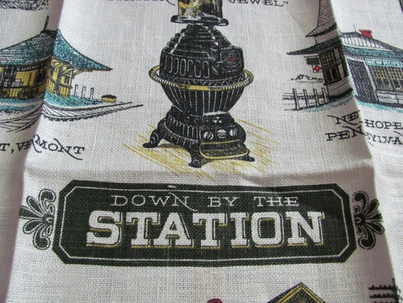 Vintage Linen Kitchen Towel - New Never Been Used - Train Station Design