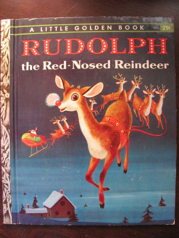 Vintage Little Golden Book - Rudolph the Red Nosed Reindeer - 1958 B Edition