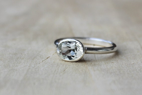 White Topaz Sideways Ring - Bezel Set Sterling Silver