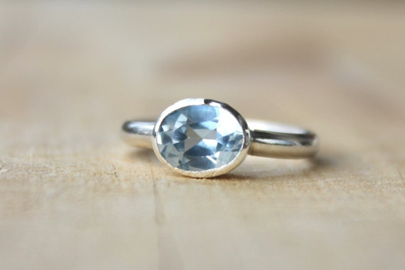 OOAK, Valentines Special Aquamarine silver ring - Bezel Set Sterling Silver Birthstone Ring, march birthstone
