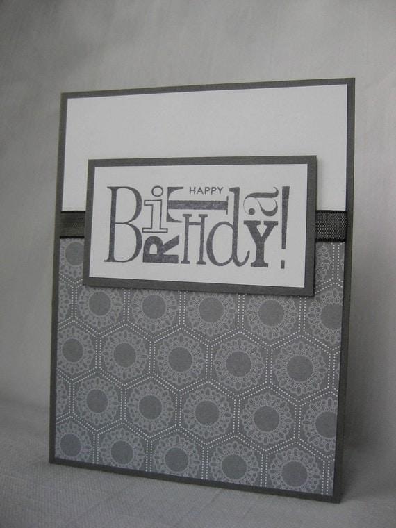 Masculine Birthday Charcoal Grey White card