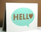 Hello Note Card - Paper cut card