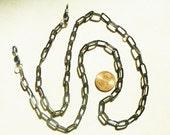 Handmade, Rustic, Grey, Long Oval, Eyeglass Chain, men, artisan, 28 in