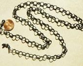 Handmade, Shiny, Gunmetal, Black, Oval, Eyeglass Chain, men, unisex, 31 inch