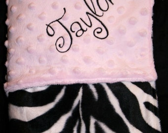 Personalized Monogrammed Pink and Faux Zebra Crib Blanket