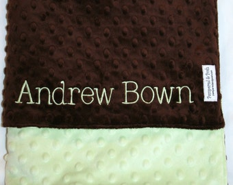 Personalized Monogrammed Sage Green and Chocolate Brown Crib Blanket