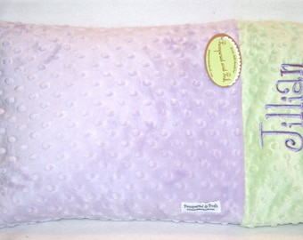 Personalized Monogrammed Custom Minky Toddler Travel Pillow Case Lavender and Sage Green