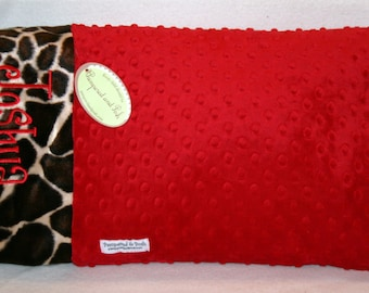 Personalized Monogrammed Custom Minky Toddler Travel Pillow Case Red and Giraffe