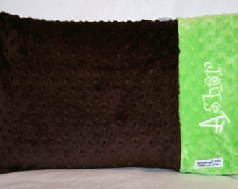 Personalized Monogrammed Custom Minky Teen Adult Standard Pillow Case in Chocolate Brown and Lime Green