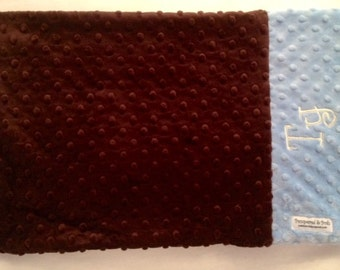 Personalized Monogrammed Custom Minky Teen Adult Standard Pillow Case in Chocolate Brown and Blue