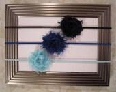 Blue, Royal & Navy Blue Mini Flower Headband Set - Petite Shabby Chic Flower Headbands. Baby Girls Accessories. Girls Hair Accessories
