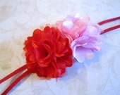 Red and Pink Satin Flower Headband. Valentine's Day Headband. Girls Hair Accessories. Baby Hair Accessories. Red and PInk Headband