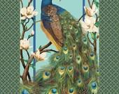 A Wonderful Northcott Fabrics Paradise Peacock Metallic Fabric Panel Free US Shipping