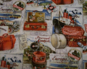 A Beautiful Travel Across the Atlantic Fabric BTY Free US shipping