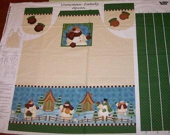 A Wonderful Snowman Family Apron Fabric Panel Free US Shipping