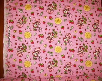 An Adorable Strawberry Shortcake and Pupcake Tossed Cotton Fabric By The Yard Free US Shipping