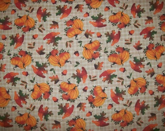 A Gorgeous Pumpkins On Gingham Autumn Fabric By The Yard Free US shipping