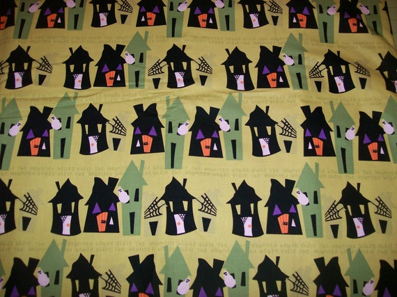 A Wonderful Halloween Magic On Trick Or Treat Night Cotton Fabric By The Yard Free US Shipping