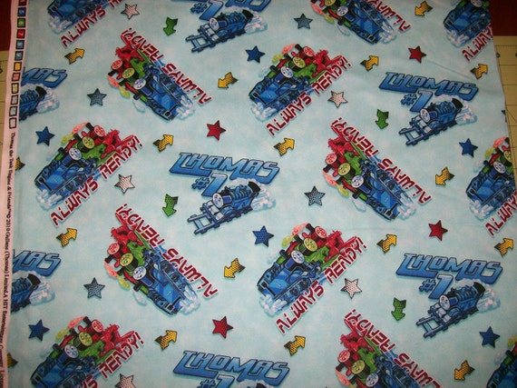 Items similar to an wonderful thomas the train flannel for Train fabric by the yard