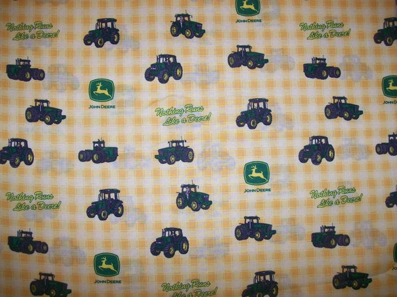 A Wonderful John Deere Nothing Runs Like A Deere Tractor And Logo Yellow Plaid Cotton Fabric BTY Free US Shipping